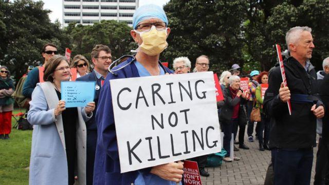 Protesta contra la eutanasia en Nueva Zelanda