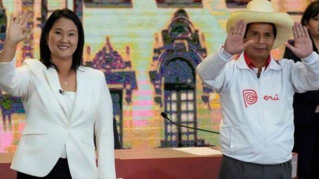 Keiko Fujimori, de Fuerza Popular, y Pedro Castillo, de Perú Libre
